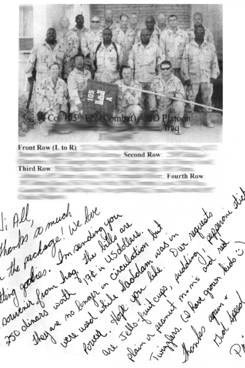 Images and notes we received from the platoon's commanding officer after our first and second rounds of shipments.