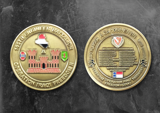 The 105th Engineer Battalion A&O Platoon coin commissioned by the platoon commander and given to XNet